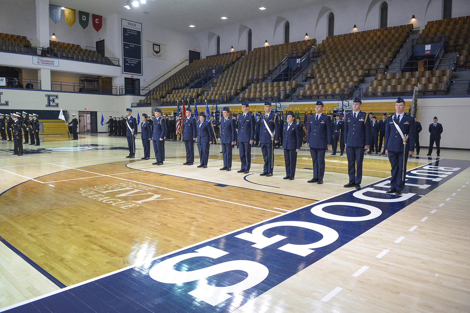 ROTC students stand in formation during ceremony.