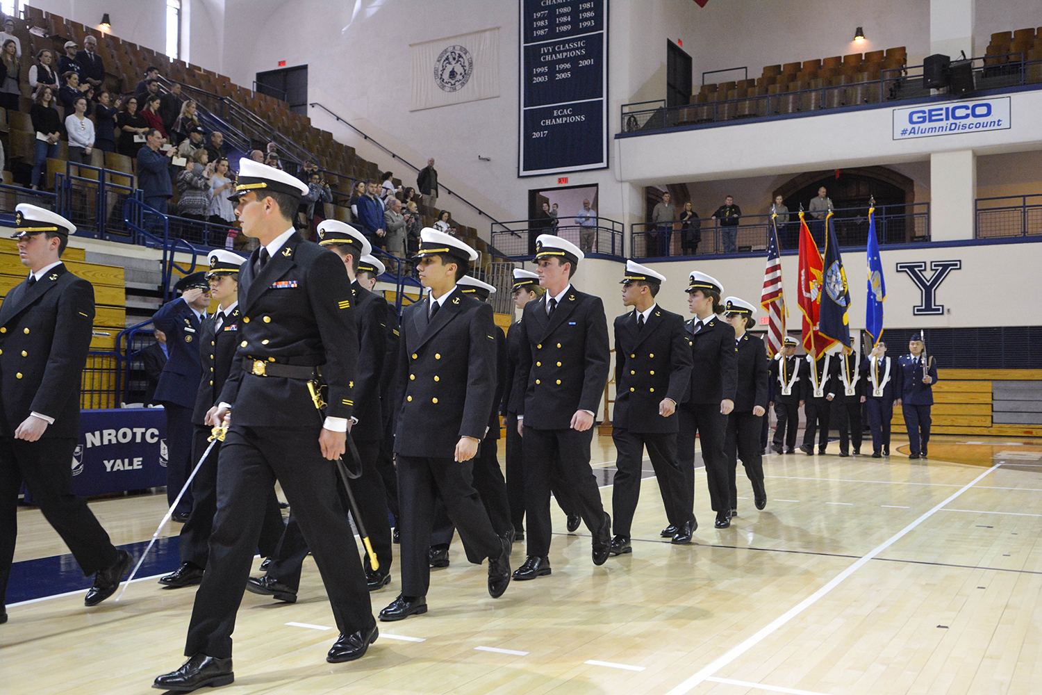 ROTC students march in formation.