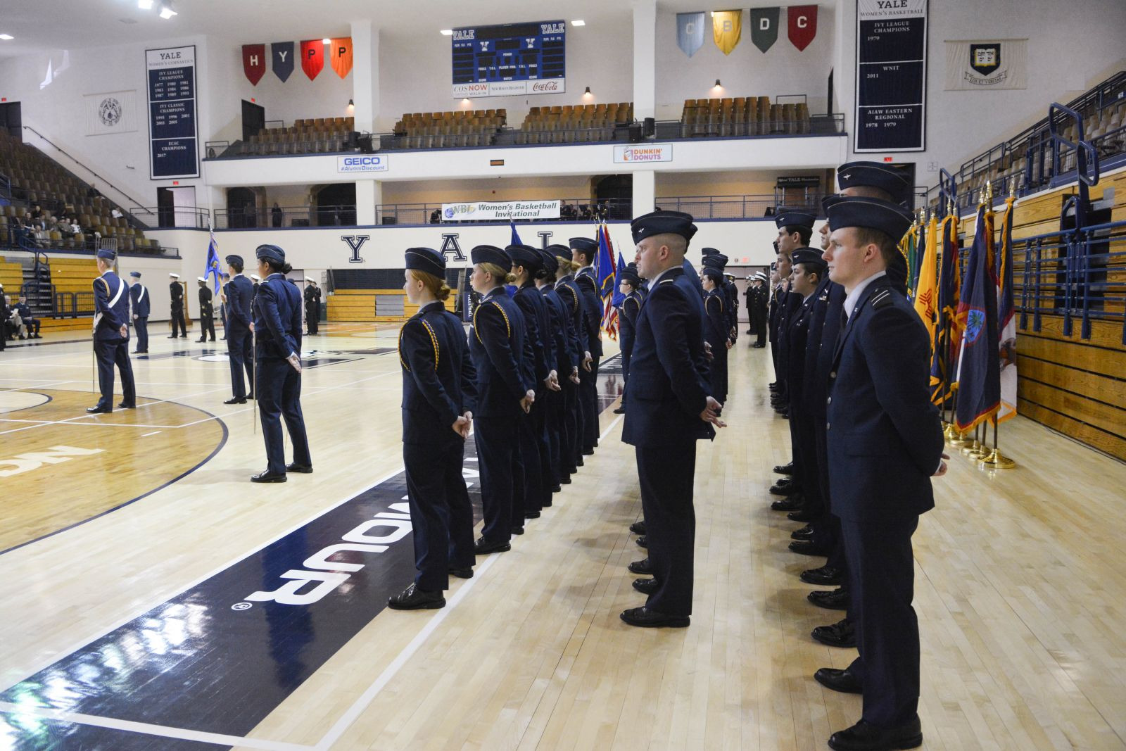 ROTC students stand at attention in rows